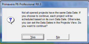 P6 Professional_Data Date for Multiple Projects