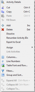 Excel Export from Activity Table Menu